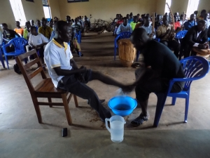 Foot washing during Holy Week at the college
