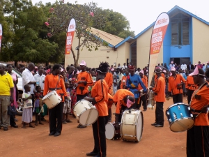 A marching band led the march though Gulu